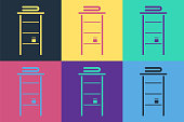 Pop art Bathroom rack with shelves for towels icon isolated on color background. Furniture object for bath room interior. Vector Illustration