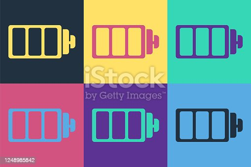 Pop art Battery charge level indicator icon isolated on color background. Vector Illustration
