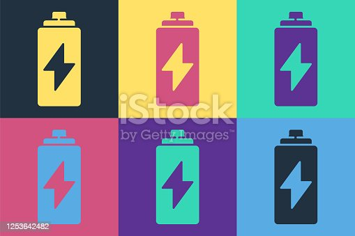Pop art Battery icon isolated on color background. Lightning bolt symbol. Vector Illustration