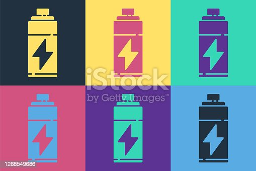 Pop art Battery icon isolated on color background. Lightning bolt symbol. Vector Illustration