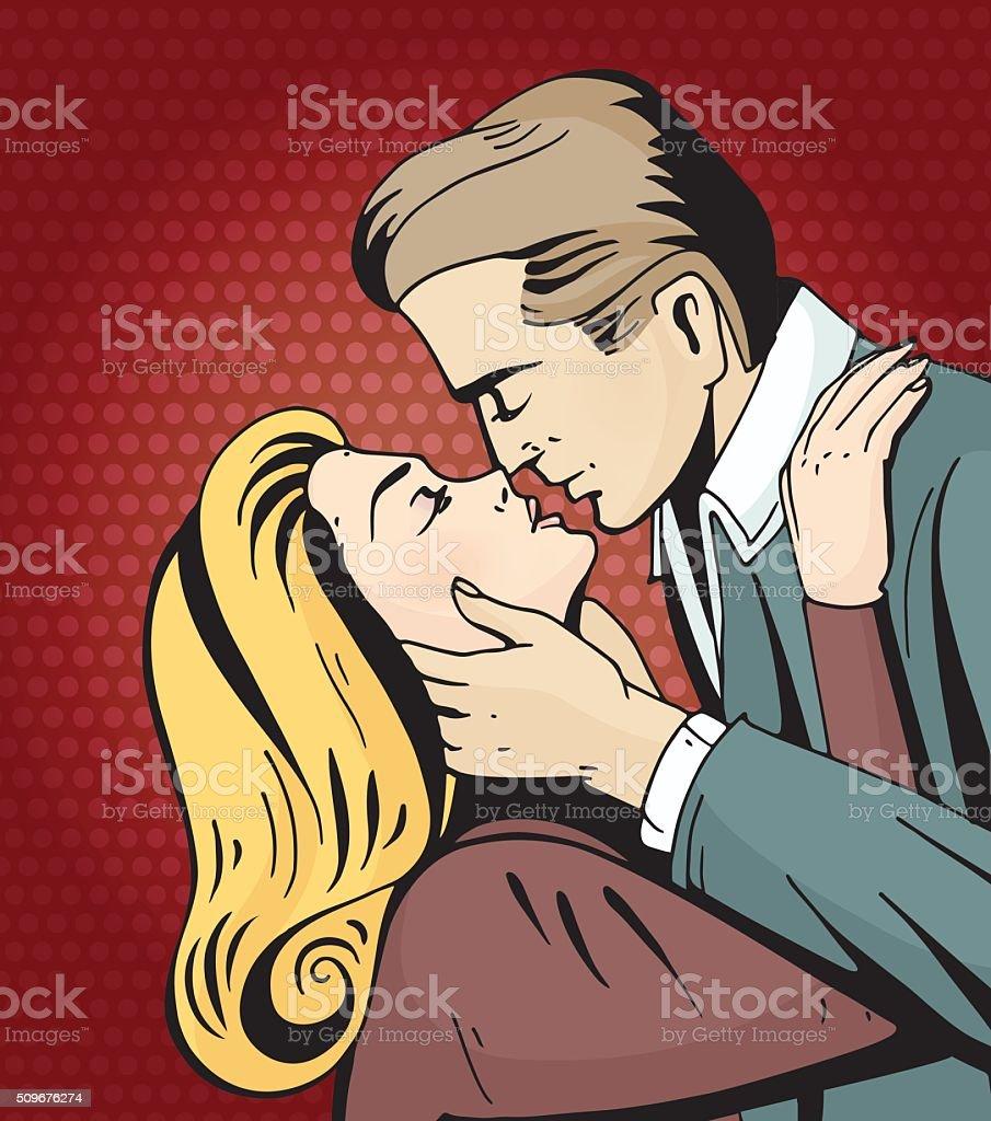 Pop art beautiful woman and man kissing.