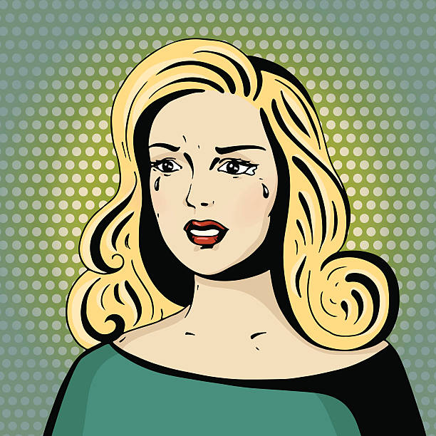 Pop art beautiful woman crying. Pop art beautiful woman crying. Cartoon blonde hollywood movie star. Vintage advertising poster about relationships. Comic hand drawn vector illustration. unhappy couple stock illustrations