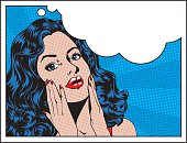 Beautiful woman in pop art style with thought bubble and room for text. Easy to edit separate layers and global colours