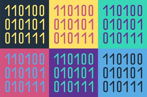 Pop art Binary code icon isolated on color background. Vector Illustration
