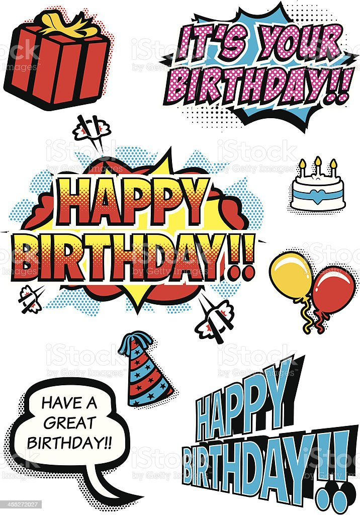 Pop Art Birthday Elements vector art illustration