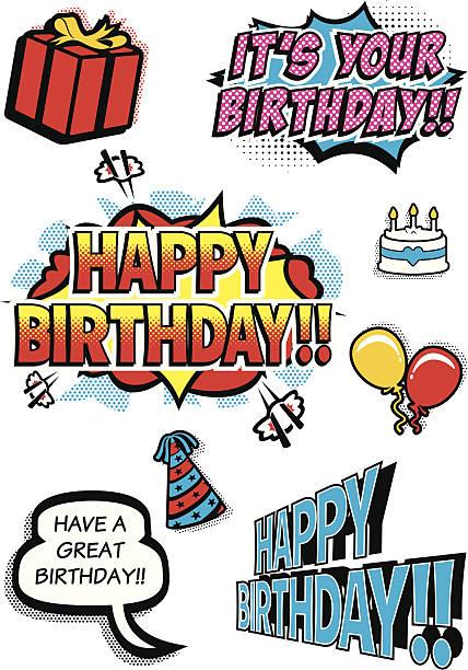 Pop Art Birthday Elements vector art illustration
