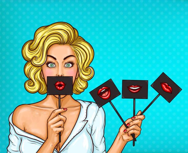 illustrazioni stock, clip art, cartoni animati e icone di tendenza di pop art blond girl covering her mouth with black sign on stick with red lips. - donna si nasconde