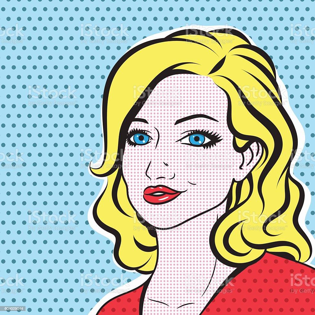pop art blonde woman face retro comic vector portrait stock vector art more images of 1950. Black Bedroom Furniture Sets. Home Design Ideas