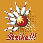 Pop art bowling strike poster