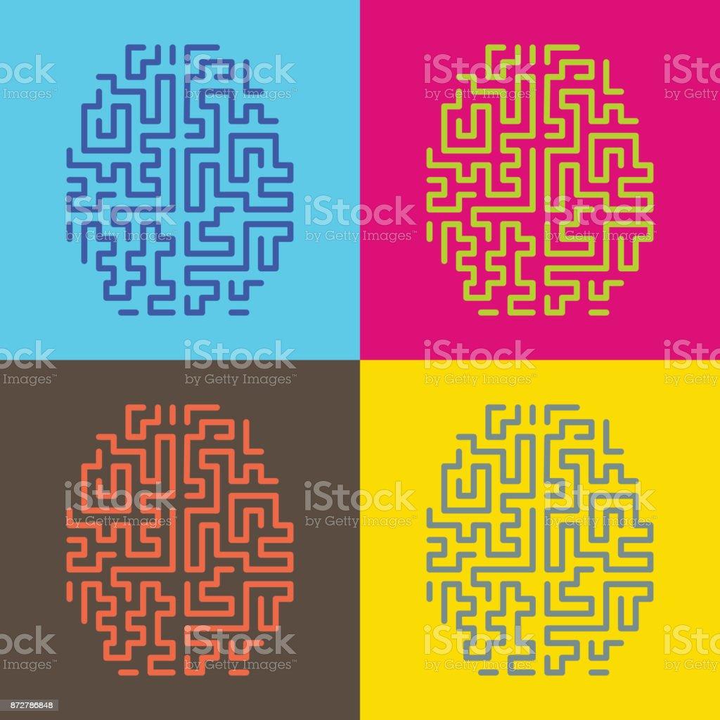 pop art brain illustration vector art illustration
