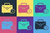 Pop art Briefcase and money icon isolated on color background. Business case sign. Business portfolio. Vector Illustration