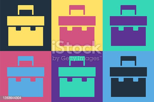 istock Pop art Briefcase icon isolated on color background. Business case sign. Business portfolio. Vector Illustration 1253644304