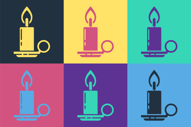 Pop art Burning candle in candlestick icon isolated on color background. Cylindrical candle stick with burning flame. Vector Illustration Pop art Burning candle in candlestick icon isolated on color background. Cylindrical candle stick with burning flame. Vector Illustration anniversary clipart stock illustrations