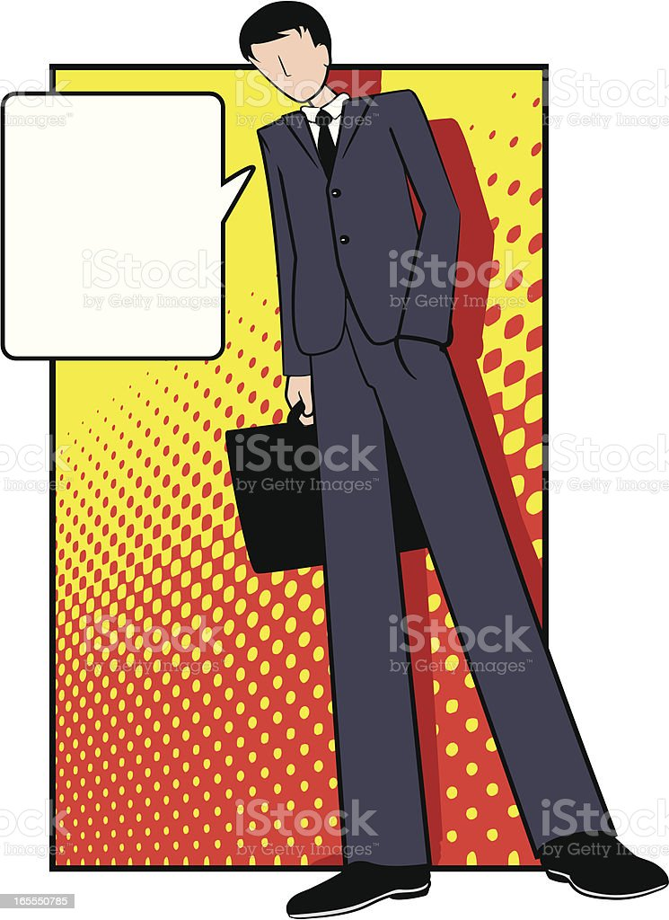 Pop Art Business Man with Briefcase royalty-free stock vector art