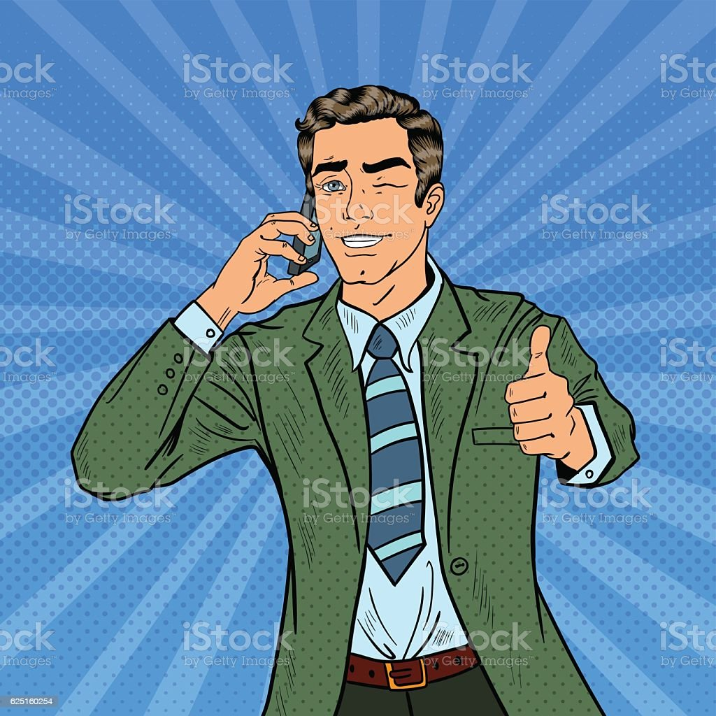 Pop Art Businessman Talking on Phone and Gesturing Thumb Up royalty-free pop art businessman talking on phone and gesturing thumb up stock illustration - download image now
