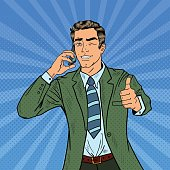 Pop Art Businessman Talking on Phone and Gesturing Thumb Up