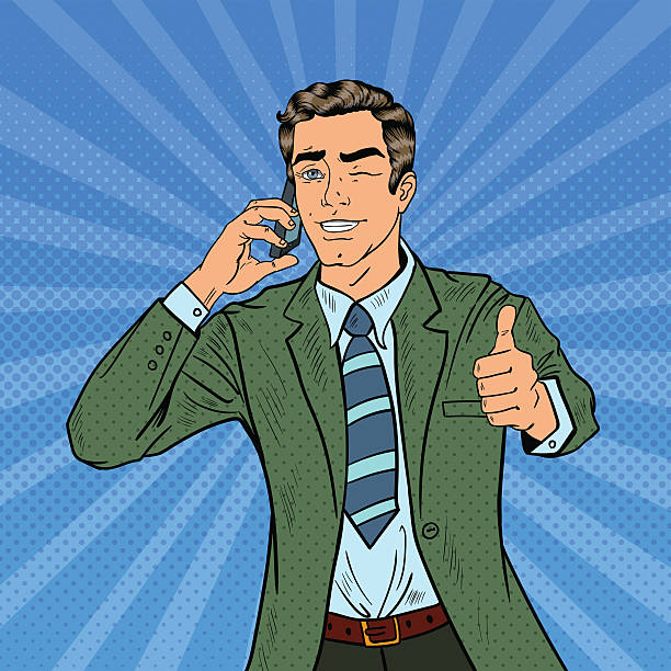 bildbanksillustrationer, clip art samt tecknat material och ikoner med pop art businessman talking on phone and gesturing thumb up - endast en ung man