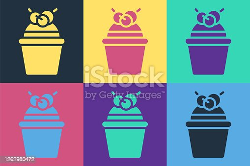 istock Pop art Cake icon isolated on color background. Happy Birthday. Vector Illustration 1262980472