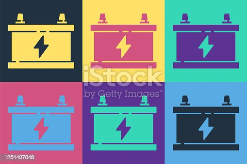 Pop art Car battery icon isolated on color background. Accumulator battery energy power and electricity accumulator battery. Vector Illustration