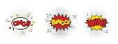 Win, Bingo, OMG funny text quotes, halftone dot texture, graphic elements, retro style.