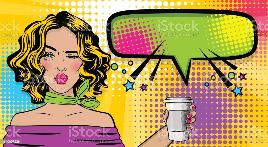 Pop art cartoon comic sexy woman vector art illustration