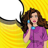 Positive shame oops pop art brunette jewish woman talk hand holding retro phone. Comic book halftone background. Vector dot illustration. Speech bubble text advertisement