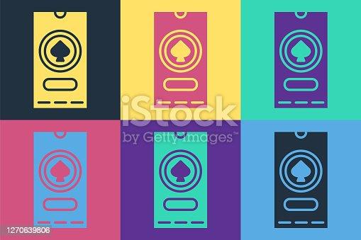 istock Pop art Casino poker tournament invitation icon isolated on color background. Casino card. Vector Illustration 1270639806