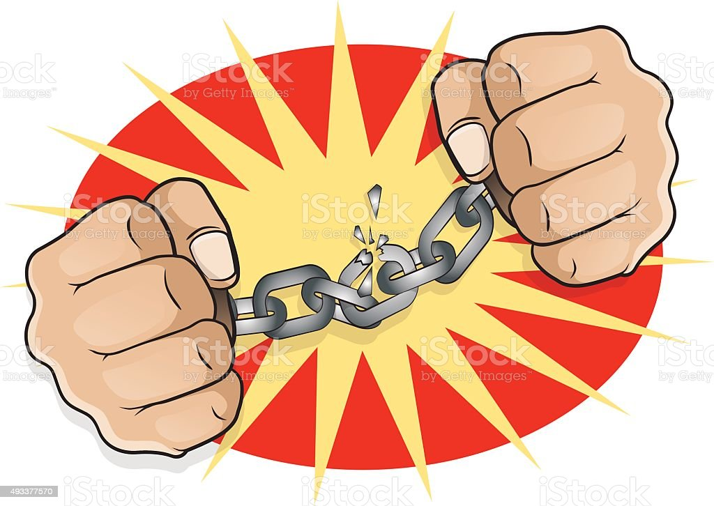 Pop Art Chained Fists breaking Free. vector art illustration