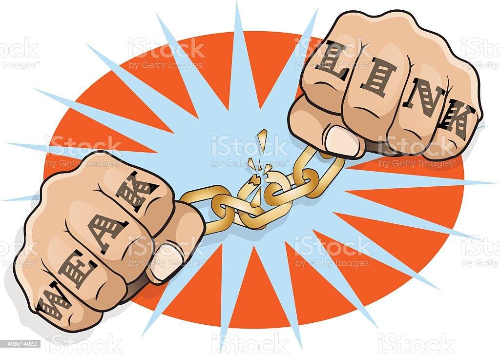 Pop Art Chained Fists Weak Link Tattoo. vector art illustration