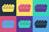 istock Pop art Chicken nuggets in box icon isolated on color background. Vector Illustration 1268550874