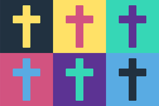 Pop art Christian cross icon isolated on color background. Church cross. Vector Illustration