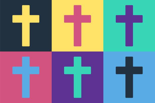 Pop art Christian cross icon isolated on color background. Church cross. Vector Illustration Pop art Christian cross icon isolated on color background. Church cross. Vector Illustration abstract clipart stock illustrations