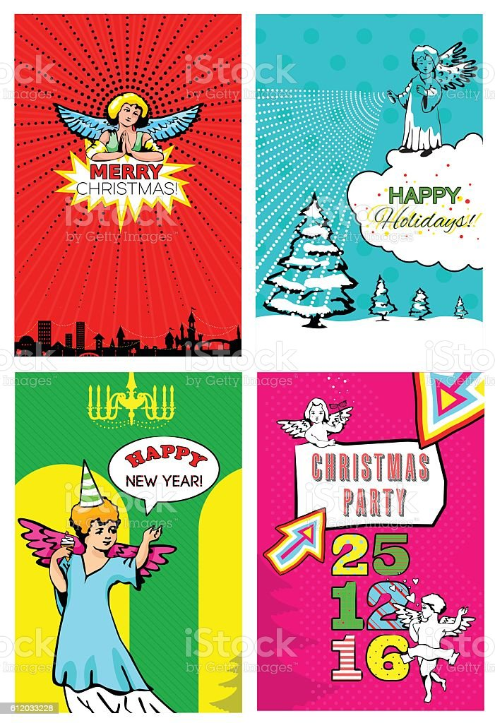 Pop Art Christmas Cards Stock Vector Art & More Images of Angel ...