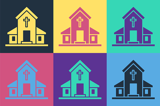 Pop art Church building icon isolated on color background. Christian Church. Religion of church. Vector Illustration