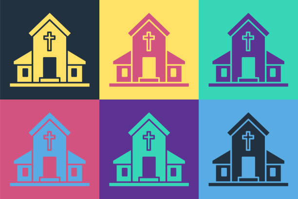 Pop art Church building icon isolated on color background. Christian Church. Religion of church. Vector Illustration Pop art Church building icon isolated on color background. Christian Church. Religion of church. Vector Illustration architecture clipart stock illustrations