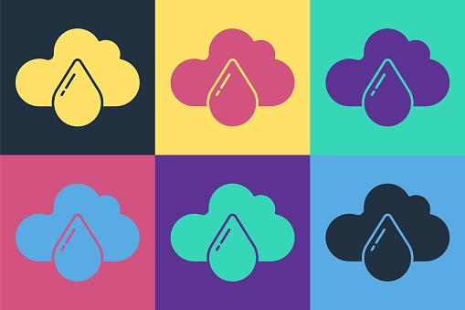 Pop art Cloud with rain icon isolated on color background. Rain cloud precipitation with rain drops. Vector Illustration