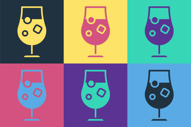 Pop art Cocktail and alcohol drink icon isolated on color background. Vector Illustration Pop art Cocktail and alcohol drink icon isolated on color background. Vector Illustration alcohol drink drawings stock illustrations