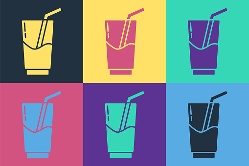 Pop art Cocktail and alcohol drink icon isolated on color background. Vector Illustration