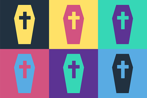 Pop art Coffin with christian cross icon isolated on color background. Happy Halloween party. Vector.