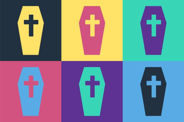 bildbanksillustrationer, clip art samt tecknat material och ikoner med pop konst kista med christian cross ikon isolerade på färg bakgrund. glad halloweenfest. vektor - wood sign isolated