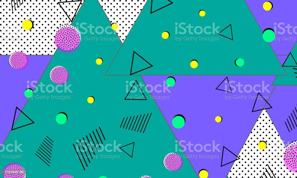 Pop Art Color Background 90s Pattern Stock Illustration - Download