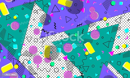 Pop art color background. Retro pattern of geometric shapes for tissue and postcards. Vector Illustration. Hipster style 80s-90s. Abstract colorful funky background.