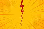 ポップアート コミック背景稲妻爆発ハーフトーン ドット。黄色の漫画のベクトル図