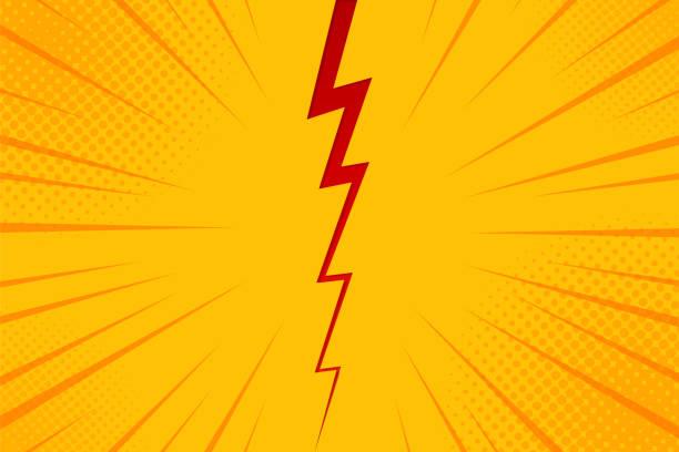 流行藝術漫畫背景閃電爆炸半色調點。黃色的卡通向量插圖 - lightning 幅插畫檔、美工圖案、卡通及圖標