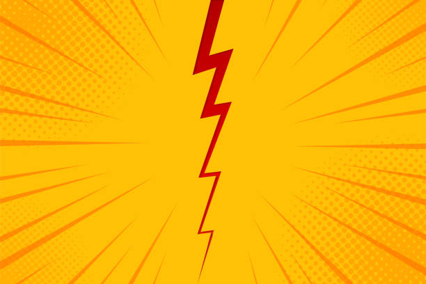 pop art comic background lightning blast halftone dots. cartoon vector illustration on yellow - acute angle stock illustrations