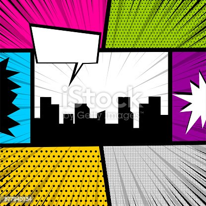 istock Pop art comic book colored backdrop 877940134