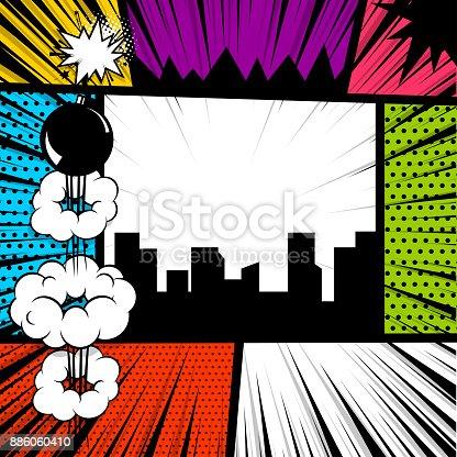 istock Pop art comic book colored backdrop 886060410