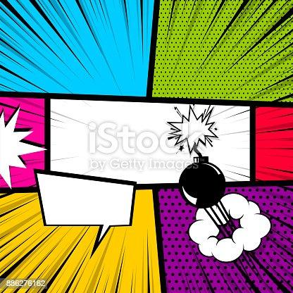 istock Pop art comic book colored backdrop 886276162