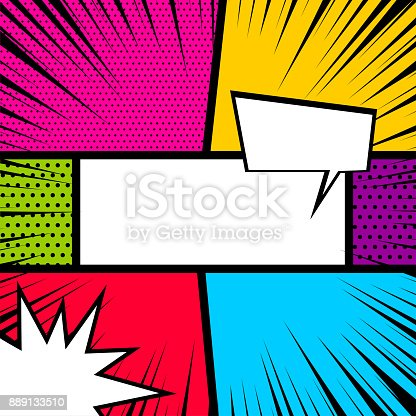 istock Pop art comic book colored backdrop 889133510