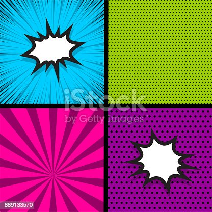 istock Pop art comic book colored backdrop 889133570